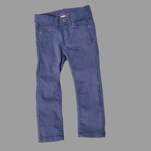 H&M steel blue cotton adjustable waist pant